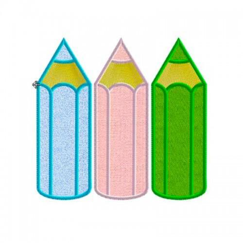 Motif broderie machine 3 crayons