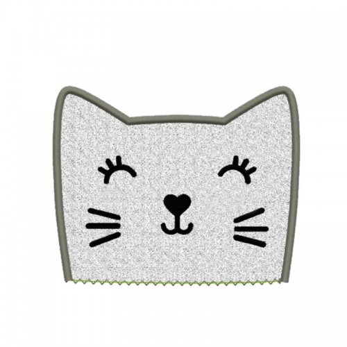 Motif broderie machine tête de chat en appliqué