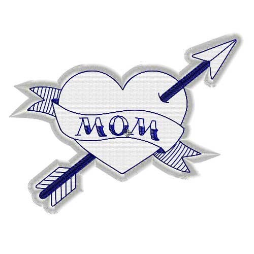 Fichier broderie machine tatouage cœur, tatoo love mom