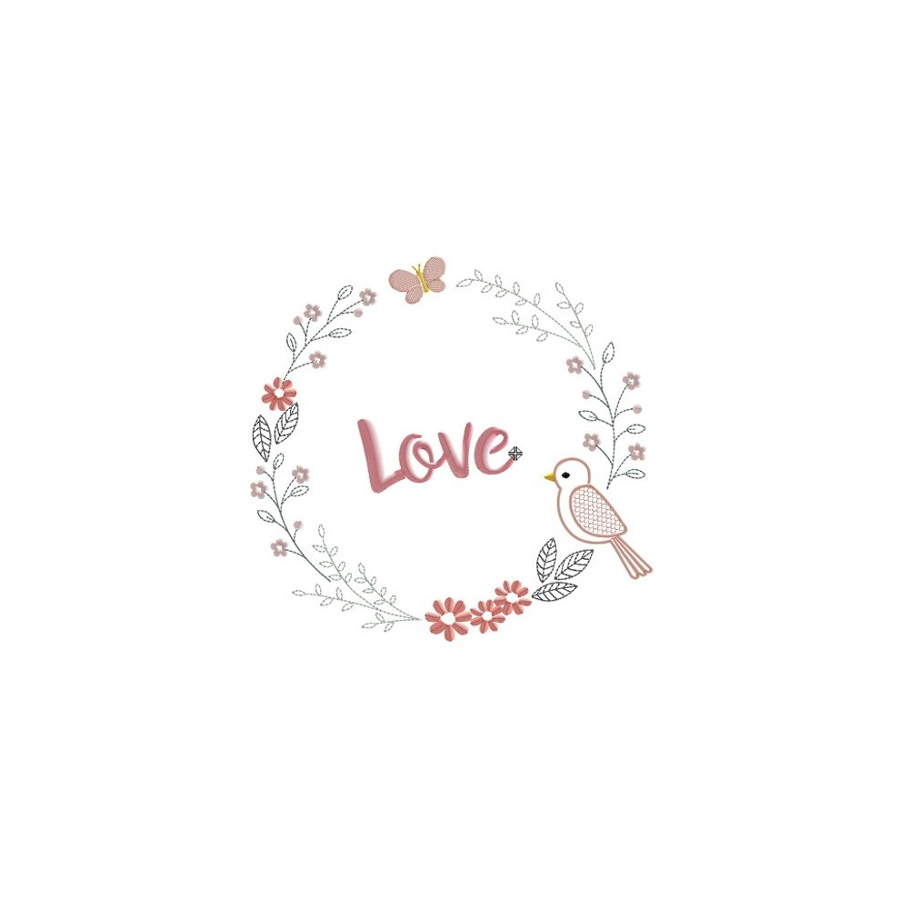 Motif broderie machine couronne de fleur, love