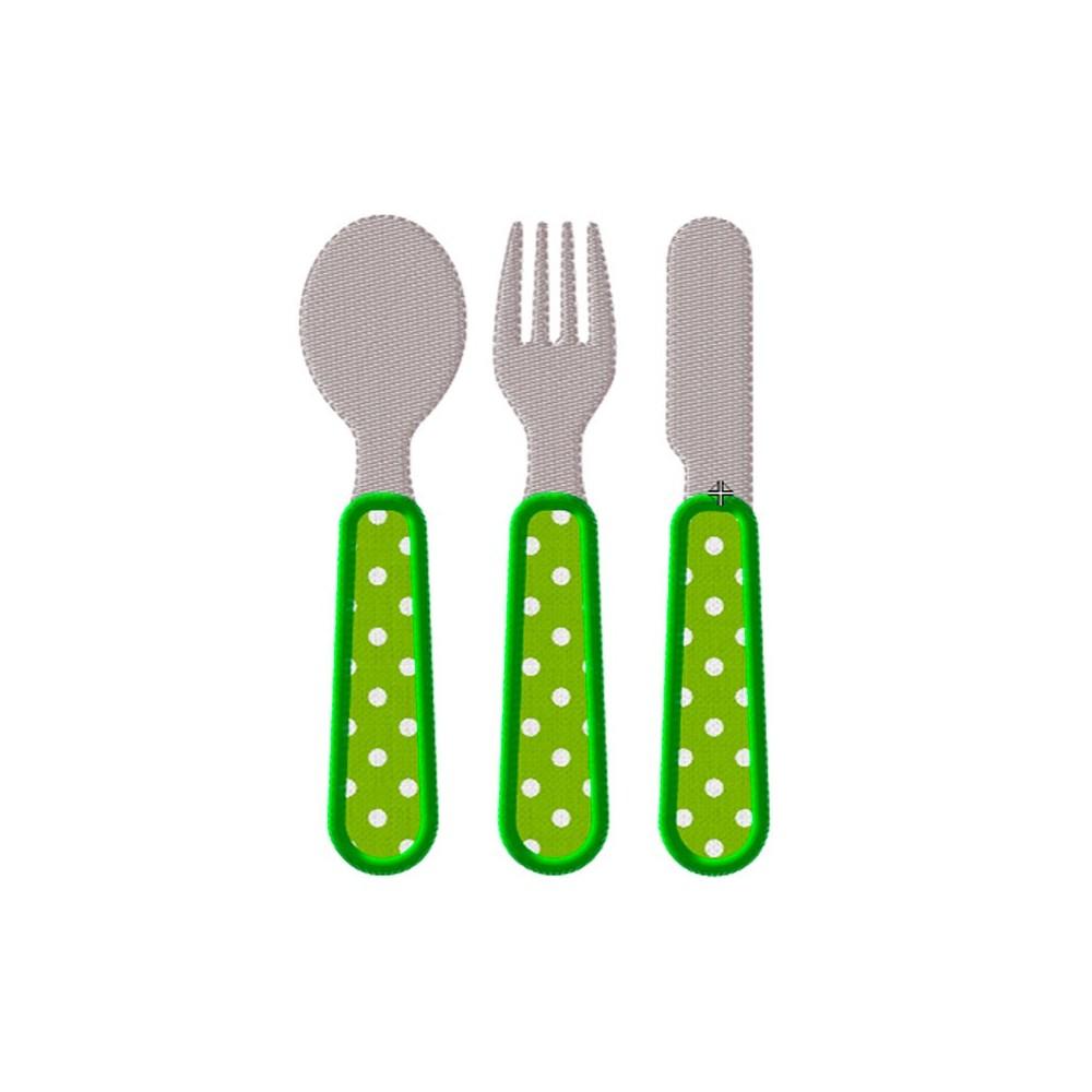 Motif broderie machine couverts enfants, cuillère, fourchette, couteau
